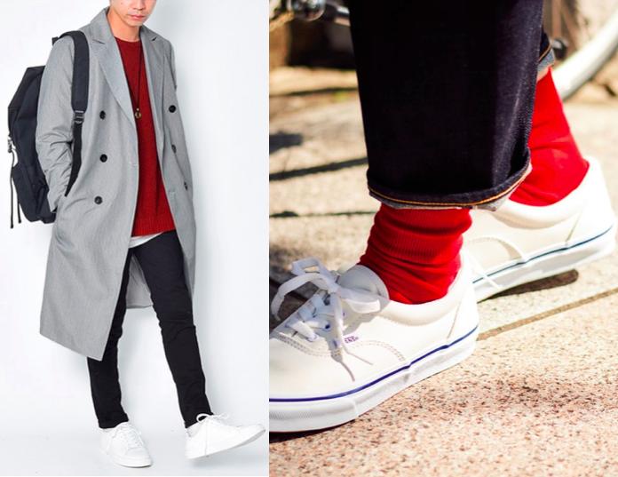 靴下 コーデ メンズ 白スニーカー 白靴